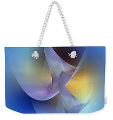 Weekender Tote Bag featuring the digital art Blue Swans by Iris Gelbart