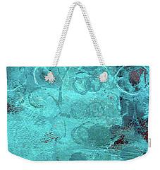 Weekender Tote Bag featuring the painting Blue Textures by Nancy Merkle