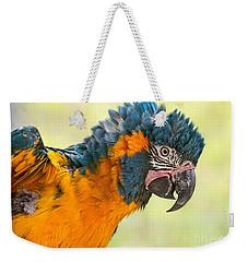 Blue Throated Macaw Weekender Tote Bag by Jamie Pham