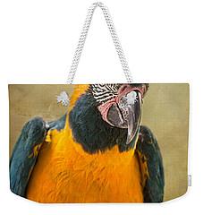 Blue Throated Macaw Portrait Weekender Tote Bag by Jamie Pham