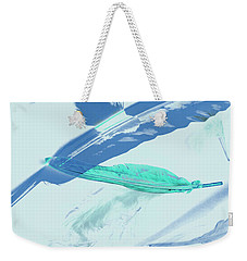Blue Toned Artistic Feather Abstract Weekender Tote Bag