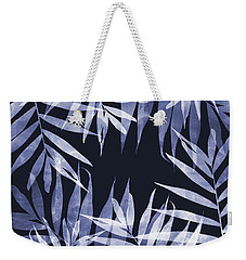 Blue Tropical Leaves Weekender Tote Bag