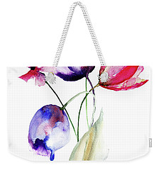 Blue Tulips Flowers With Wild Flowers Weekender Tote Bag