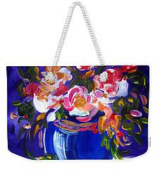 Blue Vase And Fresh Flowers Weekender Tote Bag