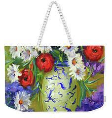 Blue Vase Flowers Weekender Tote Bag