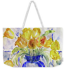 Weekender Tote Bag featuring the painting Blue Vase by Jasna Dragun