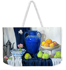 Blue Vase, Peaches, Pears, Lisianthus, Silver Coffeepot Weekender Tote Bag