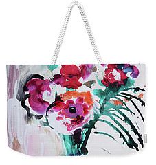 Blue Vase With Red Wild Flowers Weekender Tote Bag