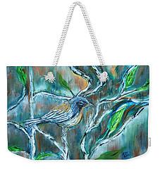 Blue Warbler In Birch Weekender Tote Bag