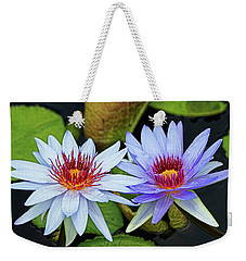 Weekender Tote Bag featuring the photograph Blue Water Lilies by Judy Vincent