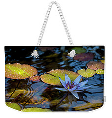 Blue Water Lily Pond Weekender Tote Bag