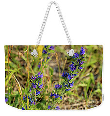 Weekender Tote Bag featuring the photograph Blue Weed by Ann E Robson