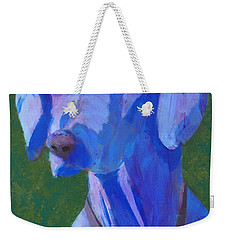 Weekender Tote Bag featuring the painting Blue Weimaraner by Donald J Ryker III