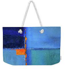 Weekender Tote Bag featuring the painting Blue Window Abstract by Nancy Merkle