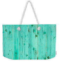 Weekender Tote Bag featuring the photograph Blue Wooden Planks by John Williams