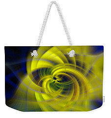 Blue Yellow Abstraction Weekender Tote Bag by Cathy Donohoue
