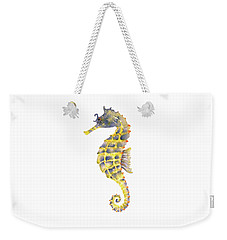 Blue Yellow Seahorse - Square Weekender Tote Bag by Amy Kirkpatrick