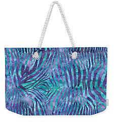 Blue Zebra Print Weekender Tote Bag