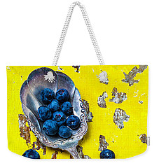 Blueberries In Silver Spoon Weekender Tote Bag by Garry Gay