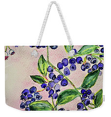 Weekender Tote Bag featuring the painting Blueberries by Kim Nelson