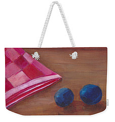 Weekender Tote Bag featuring the painting Blueberries With Red Napkin by Patricia Cleasby