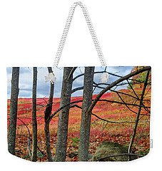 Blueberry Field Through The Wall - Cropped Weekender Tote Bag