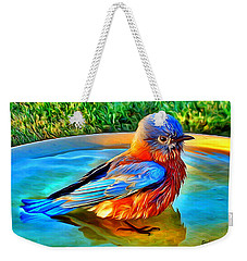 Bluebird Bath Weekender Tote Bag