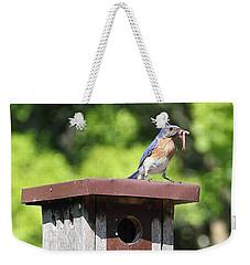 Bluebird Breakfast Feeding Weekender Tote Bag