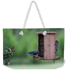 Bluebird Couple Sharing The Feeder Weekender Tote Bag