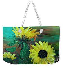 Bluebird Flying Over Sunflowers Weekender Tote Bag