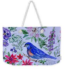 Bluebird In A Garden Weekender Tote Bag