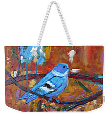 Bluebird In Autumn Weekender Tote Bag