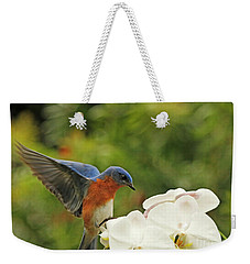 Bluebird Landing On Orchid Weekender Tote Bag