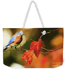 Bluebird Of Autumn Weekender Tote Bag