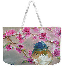 Bluebird On A Branch Weekender Tote Bag
