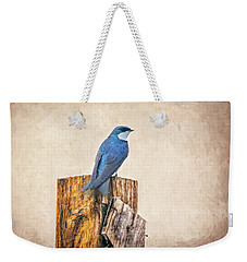 Weekender Tote Bag featuring the photograph Bluebird Post by James BO Insogna