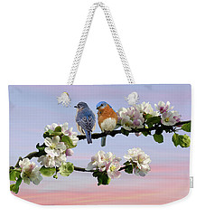 Bluebirds In Apple Tree Weekender Tote Bag