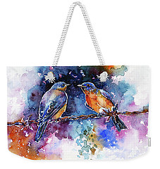Weekender Tote Bag featuring the painting Bluebirds by Zaira Dzhaubaeva