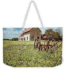 Weekender Tote Bag featuring the photograph Bluebonnet Fields by Linda Unger