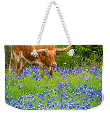 Bluebonnet Longhorn Weekender Tote Bag by Inge Johnsson