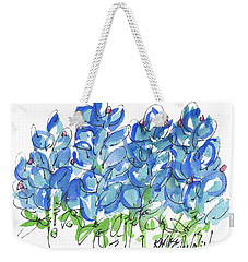 Bluebonnet Dance Whimsey,by Kathleen Mcelwaine Southern Charm Print Watercolor, Painting, Weekender Tote Bag by Kathleen McElwaine