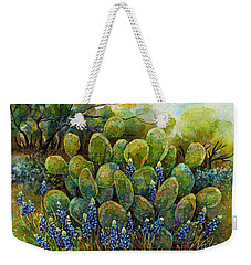 Weekender Tote Bag featuring the painting Bluebonnets And Cactus 2 by Hailey E Herrera