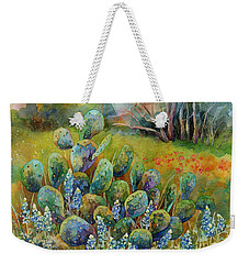 Bluebonnets And Cactus Weekender Tote Bag