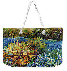 Weekender Tote Bag featuring the painting Bluebonnets And Yucca by Hailey E Herrera