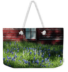 Weekender Tote Bag featuring the photograph Bluebonnets In The Shade by David and Carol Kelly