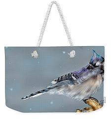 Weekender Tote Bag featuring the digital art Winter Bluejay by Darren Cannell
