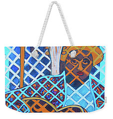 Weekender Tote Bag featuring the painting Blues Guitar - Nine Strings by Denise Weaver Ross