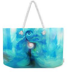 Weekender Tote Bag featuring the digital art Bluescape by Linda Sannuti