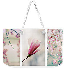 Weekender Tote Bag featuring the photograph Blush Blossom Triptych by Jessica Jenney