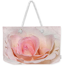 Blush Pink Dewy Rose Weekender Tote Bag by Phyllis Denton